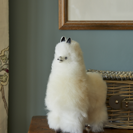 Baby Alpaca Fur Toy – Marbled White