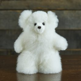 Mini White Alpaca Fur Teddy Bear